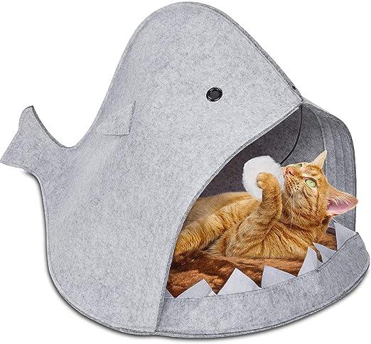 GOODS+GADGETS Cesta para Gatos Shark Hecha de Fieltro Cueva para Gatos - Divertida Cesta para