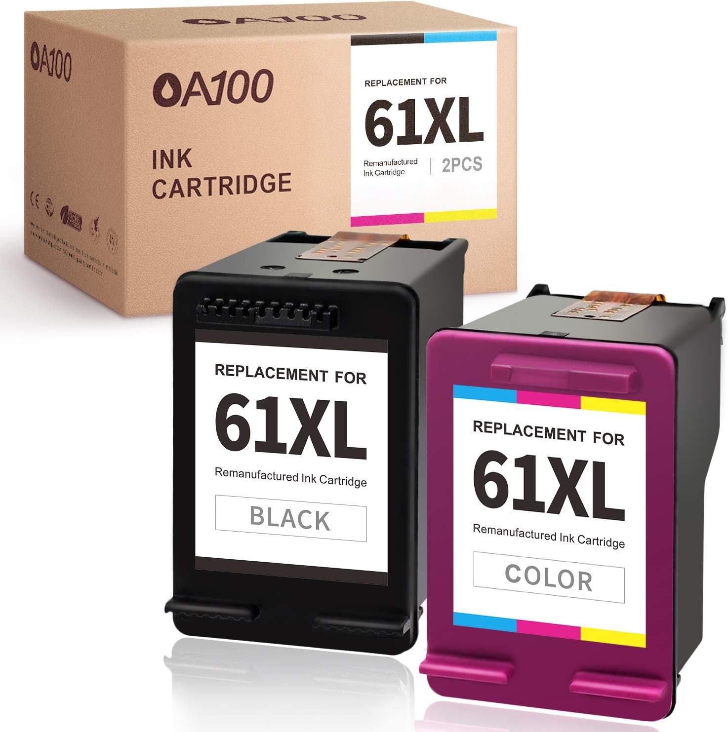 OA100 Remanufactured Ink Cartridge Replacement for HP 61 61XL 61 XL for Envy 5530 4500 4502 5535 OfficeJet 4630 4635 4632 DeskJet 2540 2541 2542 1010 3050A 3510 1510 1050 (1 Black, 1 Tri-Color)