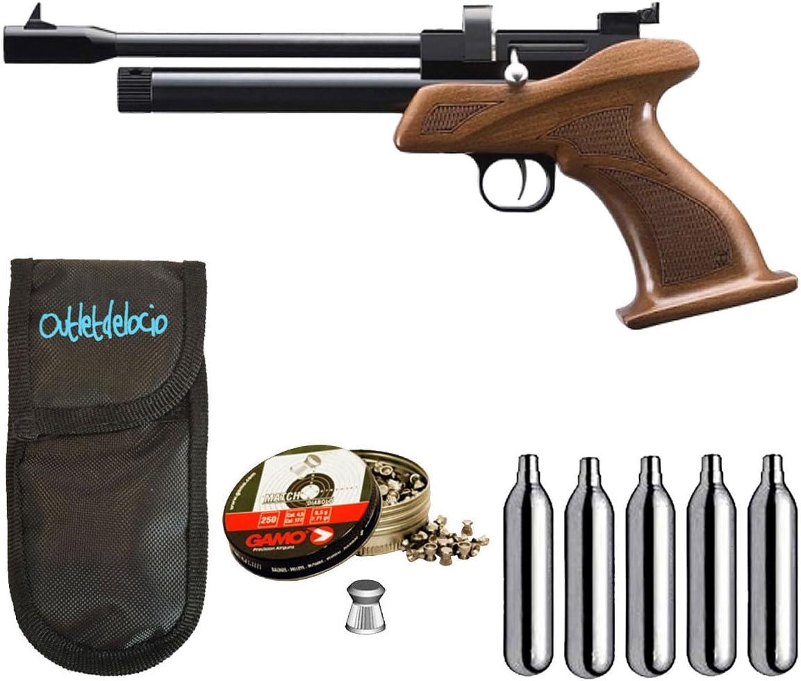 Outletdelocio. Pistola perdigon ZCP1M45 Zasdar CP1 co2 4,5mm + Funda Portabombonas + Balines + Bombonas co2. 23054/29318/38203