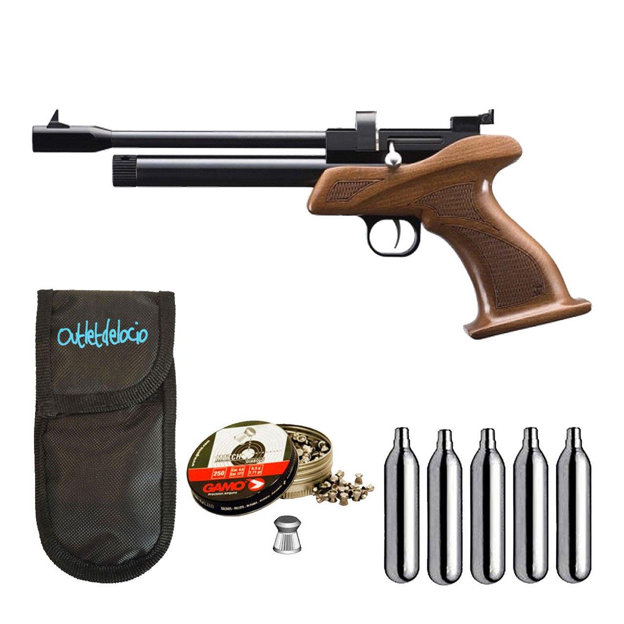 Pistola perdigon ZCP1M55 Zasdar CP1 co2 5, 5 mm+ Funda Portabombonas + Balines + Bombonas co2. 23054/29318/36580