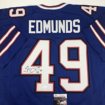 8447e9614 Image Unavailable. Image not available for. Color  Autographed Signed  Tremaine Edmunds Buffalo Blue Football ...