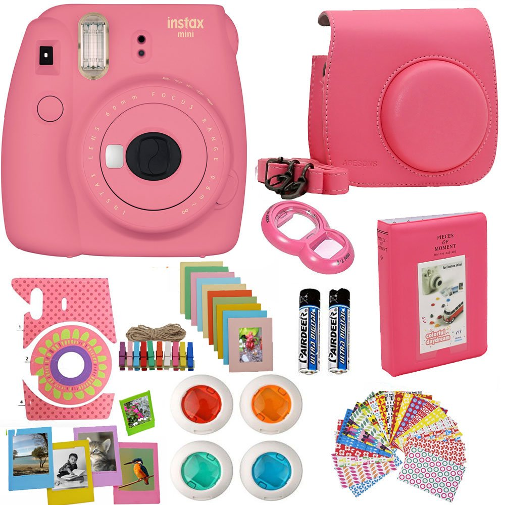 Fujifilm Instax Mini 9 Instant Camera Flamingo Pink + Pink Camera Case + Frames + Photo Album + 4 Color Filters And More Top Accessories Kit by Abesons