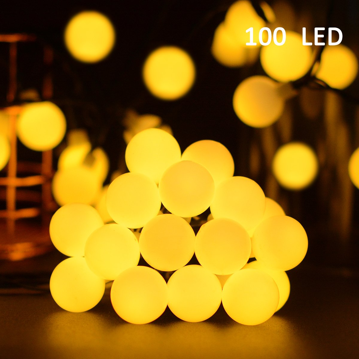 VMANOO Globe Battery Operated Timer String Lights 100 LED Ball Fairy Christmas Lighting Decor for Outdoor, Indoor, Garden, Patio, Bedroom Wedding Decorations (Warm White)