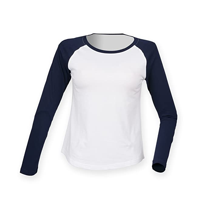 Amazon.com: Skinnifit Womens/Ladies Long Sleeve Baseball T-Shirt: Clothing
