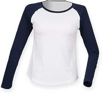 Skinnifit - Camiseta de manga larga estilo béisbol para mujer: Amazon.es: Ropa y accesorios