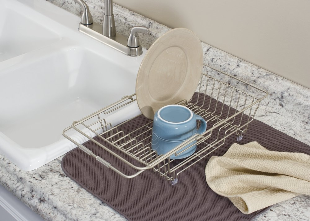 Amazon.com: MDesign Kitchen Over The Sink Dish Drainer Rack For Drying  Glasses, Silverware, Bowls, Plates   Satin: Kitchen U0026 Dining