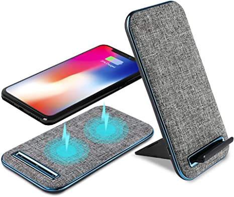 Aursen Fast Stand Wireless Charger,By ABS Linen,2 in 1 Qi Wireless Charger for Samsung Galaxy S8S8 PlusNote 8S7S7 EdgeS6 Edge PlusNote 5,