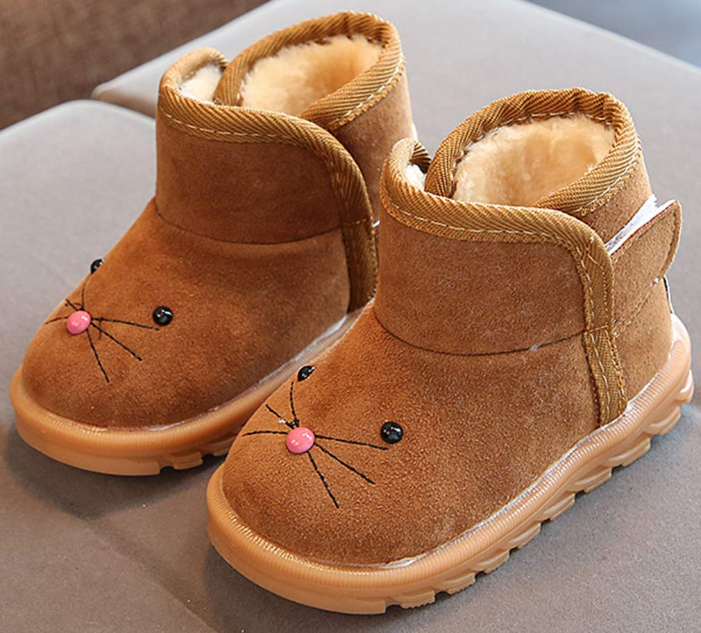 VECJUNIA Boy's Girl's Cartoon Suede Ankle High Snow Boots Cold Weather Winter (Brown, 10 M US Toddler) by VECJUNIA (Image #2)