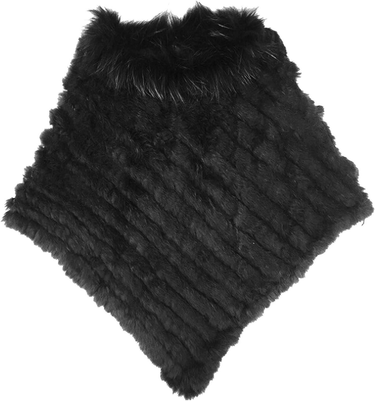 Ysting Women/'s Winter Elegant Knitted Rabbit Fur Poncho Cape with Warm Raccoon Fur Collar with Asymmetrical Hem