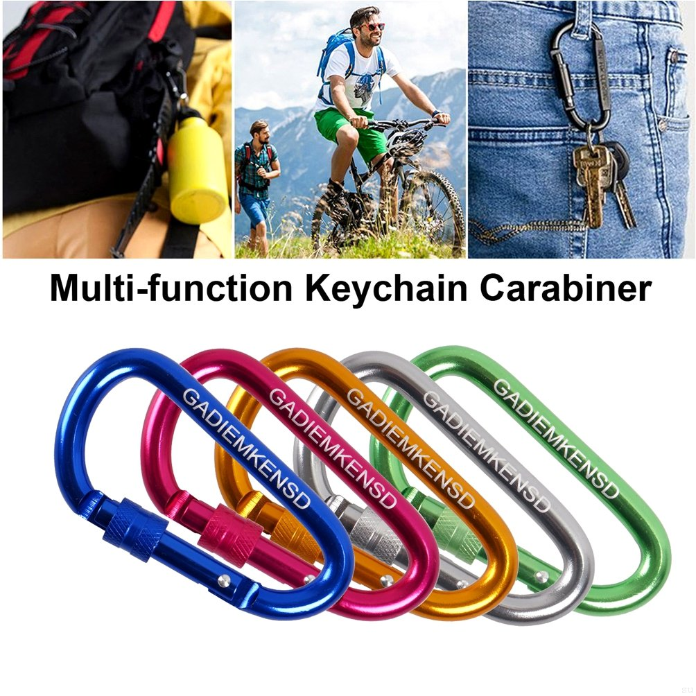 GADIEMENSS Aluminum Alloy D-Ring High Strength Carabiner Key Chain Clip Hook For Camping Hiking Not for Climbing