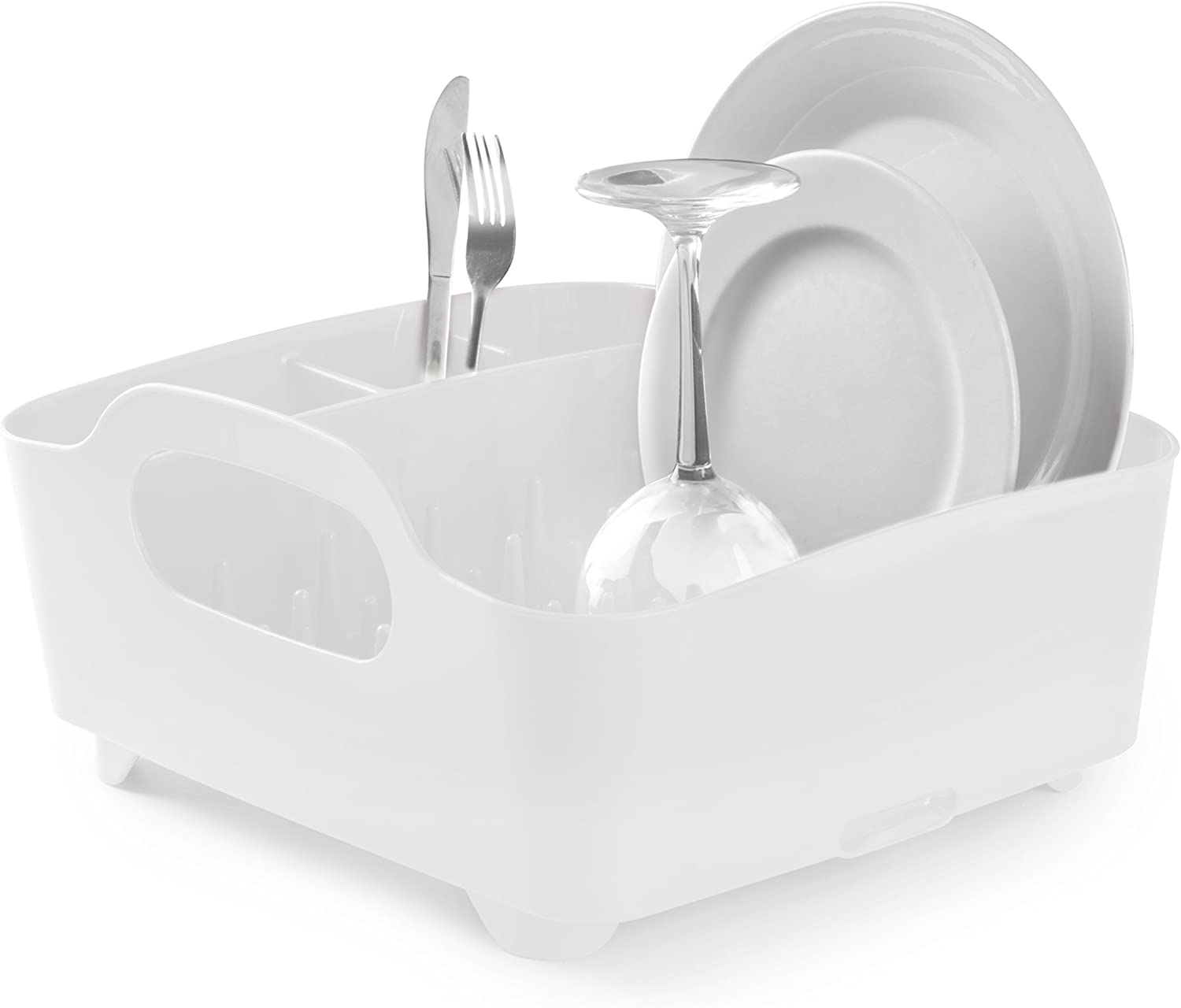 Umbra Tub Dish Drying Rack – Lightweight Self-Draining Dish Rack for Kitchen Sink and Counter at Home, RV or Motorhome, White