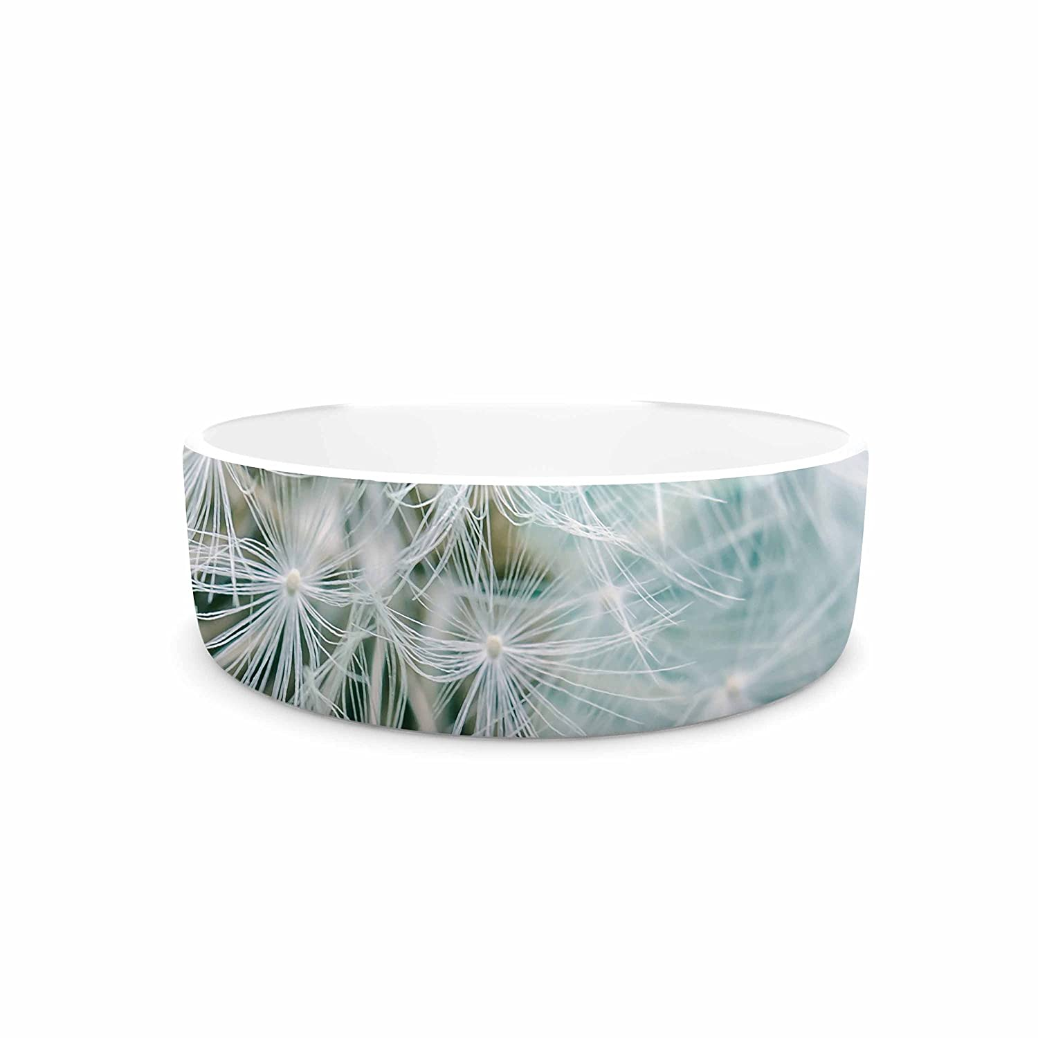 KESS InHouse Suzanne Harford Puff Teal White Photography Pet Bowl, 7  Diameter