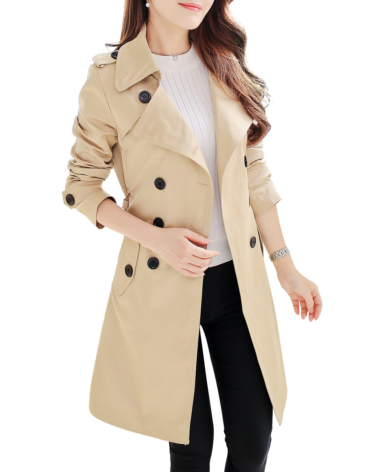 NANJUN Women's Double Breasted Trench Coat Chelsea Tailoring Overcoat (Khaki 6) by NANJUN
