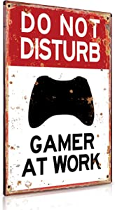 Putuo Decor Game Room Decor Do Not Disturb Gamer at Work Metal Tin Sign Gift for Gamer 12 x 8 Inch
