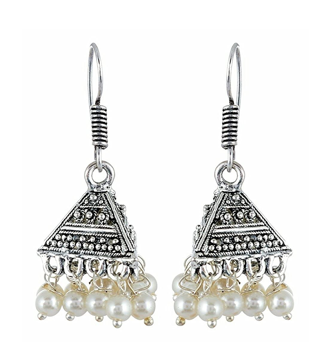 Subharpit Light Weight White Beads Metal Traditional Indian Dangle Earring for Woman and Girls