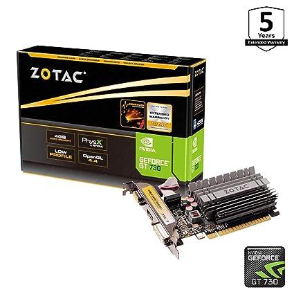 Zotac ZT-71115-20L - Tarjeta gráfica (GeForce GT 730, 4 GB, GDDR3, 64 bit, 4096 x 2160 Pixeles, PCI Express x16 2.0)