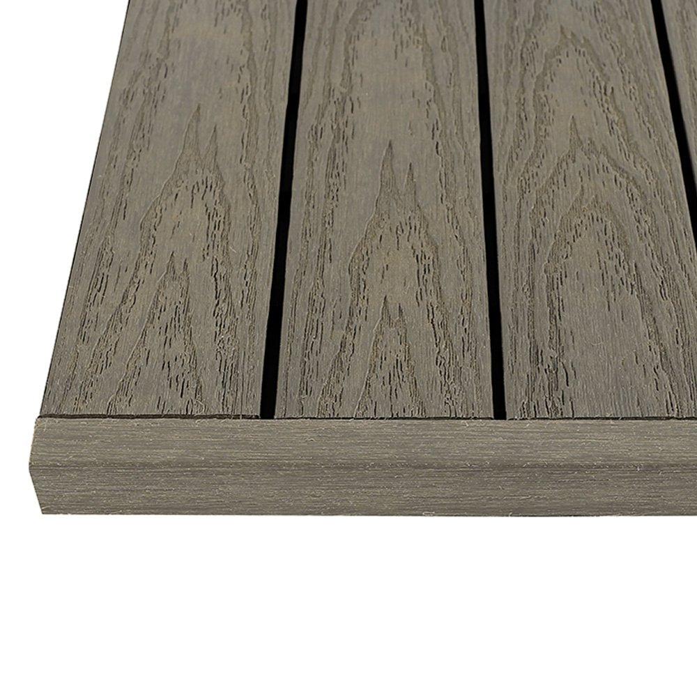 NewTechWood US-QD ZX-ST 1/6 x 1 ft. Quick Composite Deck Tile Straight End Corner Fascia in Egyptian Stone Gray (4-Pieces/Box) US-QD-ST-ZX-ST