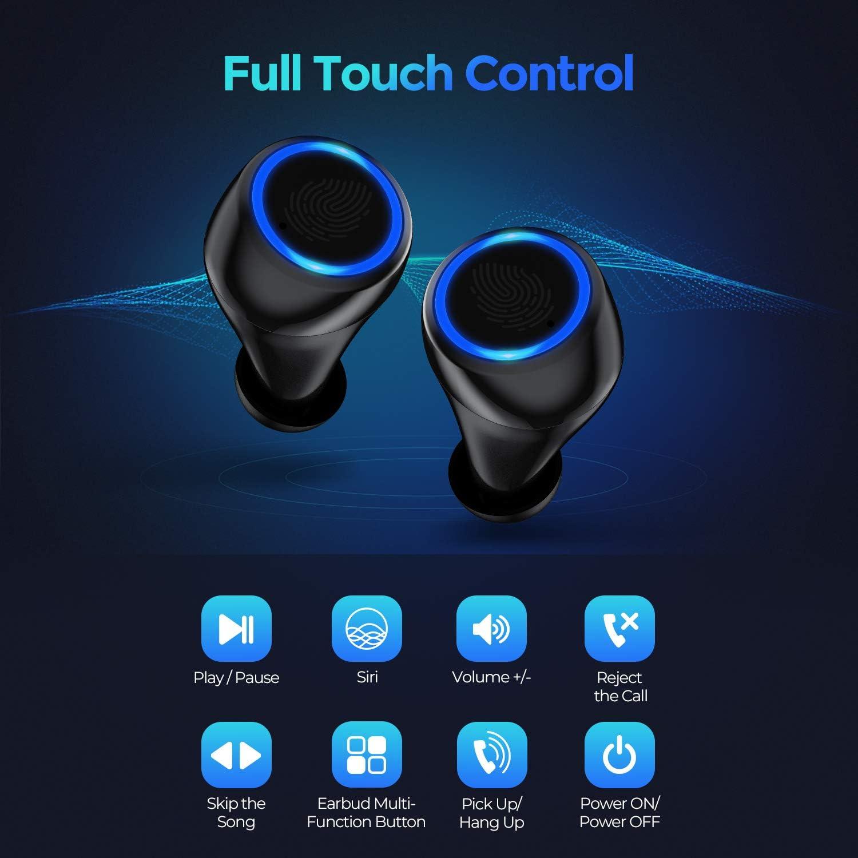 Hoseili Bluetooth Kopfh/örer In Ear Kopfh/örer Kabellos mit 120 Stunden Spielzeit Stereoanrufe Stereo Deep Bass,Touch-Control Wireless Kopfh/örer Sport Ohrh/örer Battery LED Display
