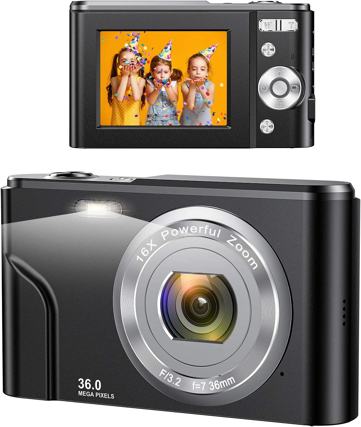 Digital Camera, wechi 1080P HD Digital Students Cameras 36MP Video Camera Vlogging Camera with 16X Digital Zoom, Mini Camera for Kids/Teens/Seniors/Beginners