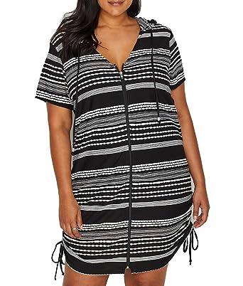 e6a04bc2c5 Dotti Women's Plus Size Ibiza Stripe Side Shirred Hoodie Tunic Cover-Up  Black/White