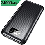Portable Charger Power Bank -24000mAh High Capacity with Digital Display LCD Screen,3 USB Output & Dual Input,External Battery Pack Compatible with iPhone,iPad, Samsung Galaxy Smartphones(Black)