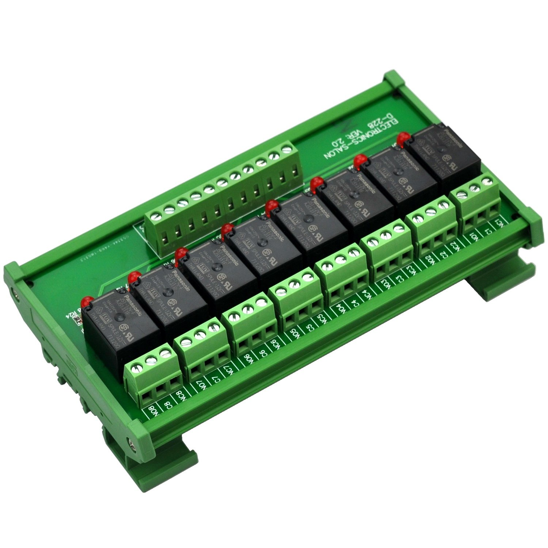 ELECTRONICS-SALON DIN Rail Mount 8 SPDT Power Relay Interface Module, 10A Relay, 12V Coil.