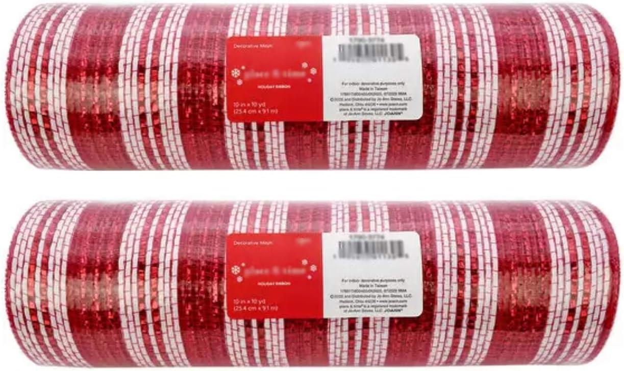 (2 Rolls) 10 inch x 30 feet Metallic Mesh Deco Ribbon (Red White Stripe) Poly mesh for Wreaths