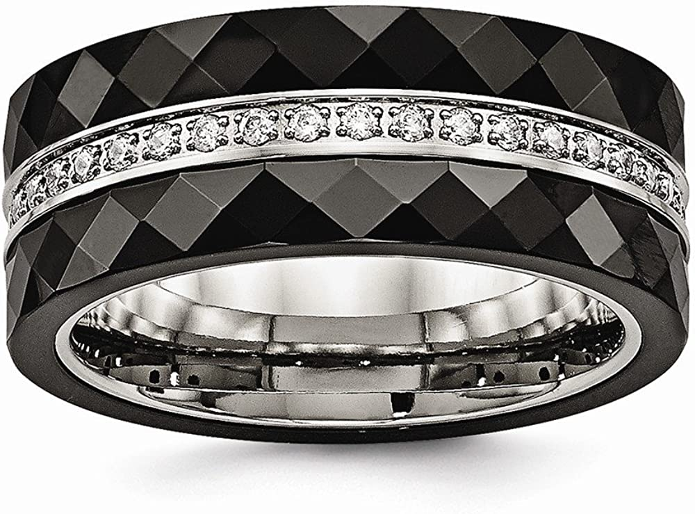 Bridal Wedding Bands Decorative Bands Stainless Steel Polished Faceted Black Ceramic CZ Ring Size 10