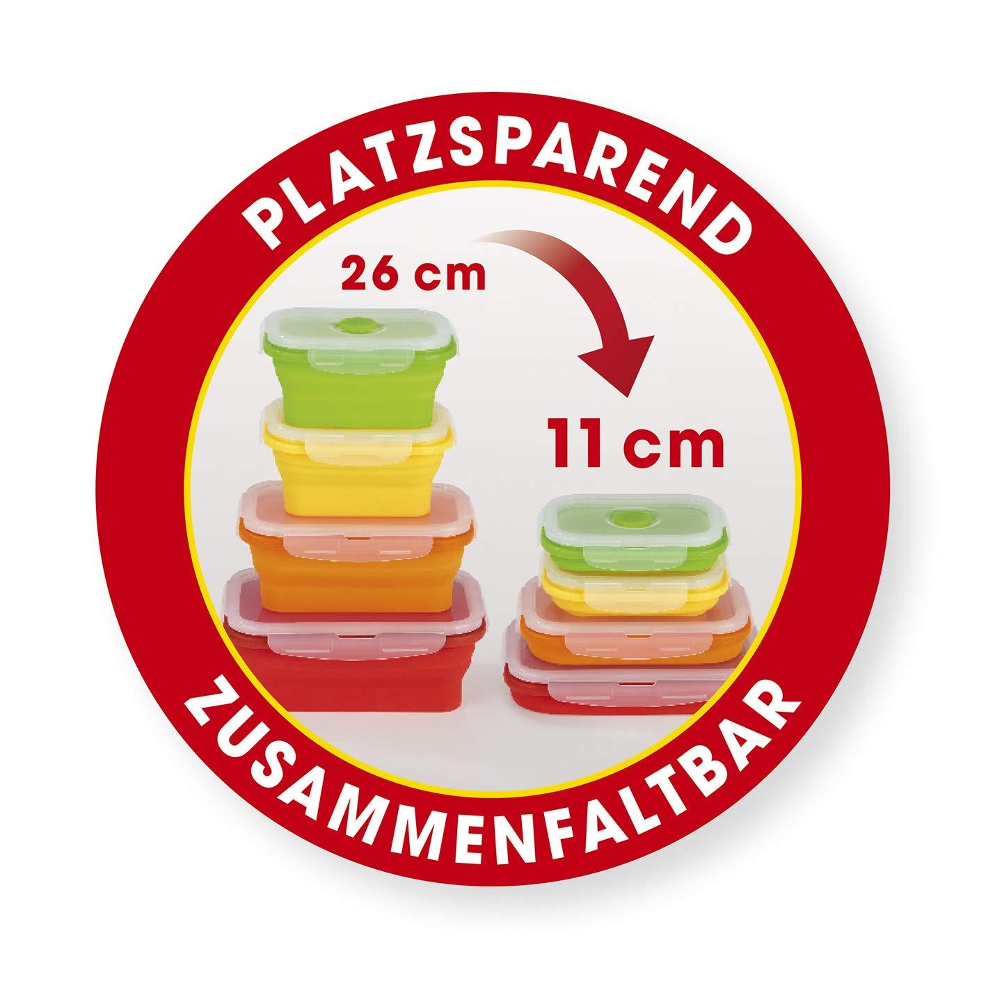 Gourmet Maxx 02829/ Ahorra Espacio Plegable 8/Piezas sin BPA para Guardar, congelar y Calentar con microondas V/álvula 4/latas /& 4/Tapa 8/Piezas /Recipientes herm/éticos