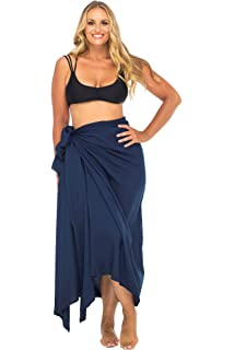 ab9ef1737a5c0 Back From Bali Womens Plus Size Sarong Swimsuit Cover up Solid Beach Wear  Bikini Wrap Skirt