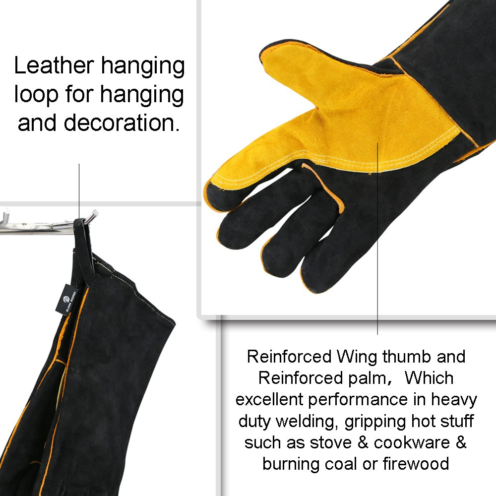 OLSONDEEPAK Welding Gloves with Kevlar Stitching, Genuine Leather Extreme Heat Resistant Glove for Fireplace, Stove,Oven,Grill, BBQ, Mig, Pot Holder, Animal Handling (Large Black(For men)) by OLSON DEEPAK (Image #3)