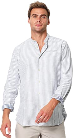 Scalpers Camisa Cuello Mao - Navy Stripes / 40: Amazon.es: Ropa y accesorios