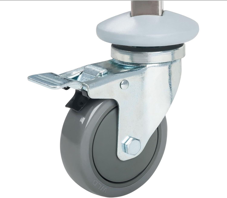 RCTW 16 GN 4 ruedas de goma dirigibles con freno Barras verticales para garantizar la seguridad de las cubetas Carro bandejero para cubetas gastron/ómicas con capacidad de 16 cubetas fabricado en acero inoxidable Royal Catering