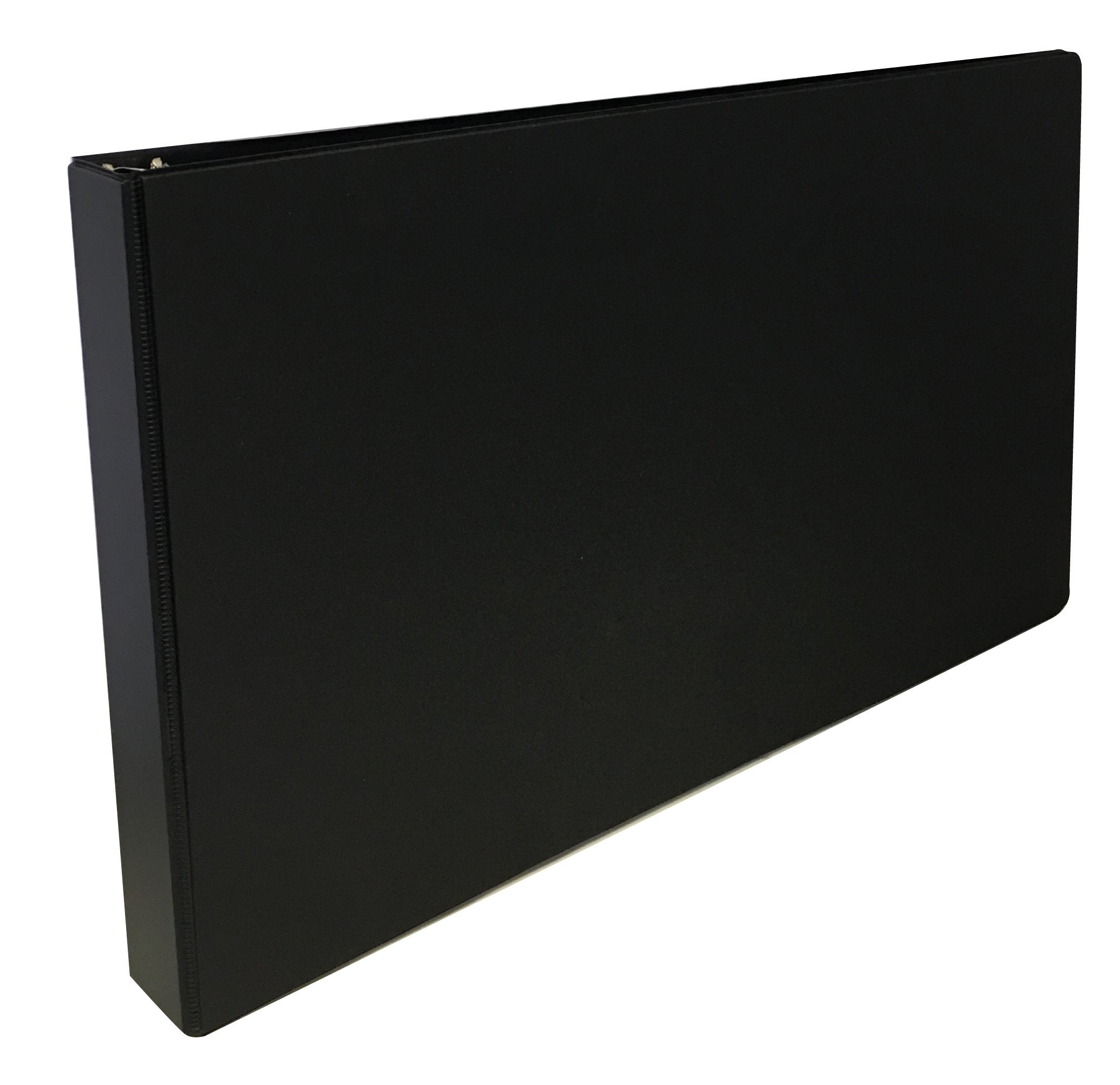 3 Ring Binders, 1-inch Slant D-Rings with Interior Pockets, Black by Ring Binder Depot