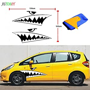 ABy Cool Shark Mouth Teeth Ho Reflective Car Auto Body Decals Sticker