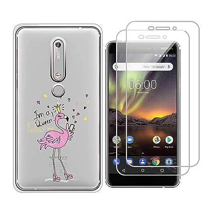 c986e3e3b53 Funda Nokia X6 2018,Flamingo Queen Flexible Suave Transparente TPU Gel  silicona Smartphone Cascara Protectora