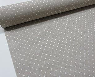 Confección Saymi Metraje 0,50 MTS Tejido loneta Estampada Ref. Motitas Blanco Fondo Culla, con Ancho 2,80 MTS.