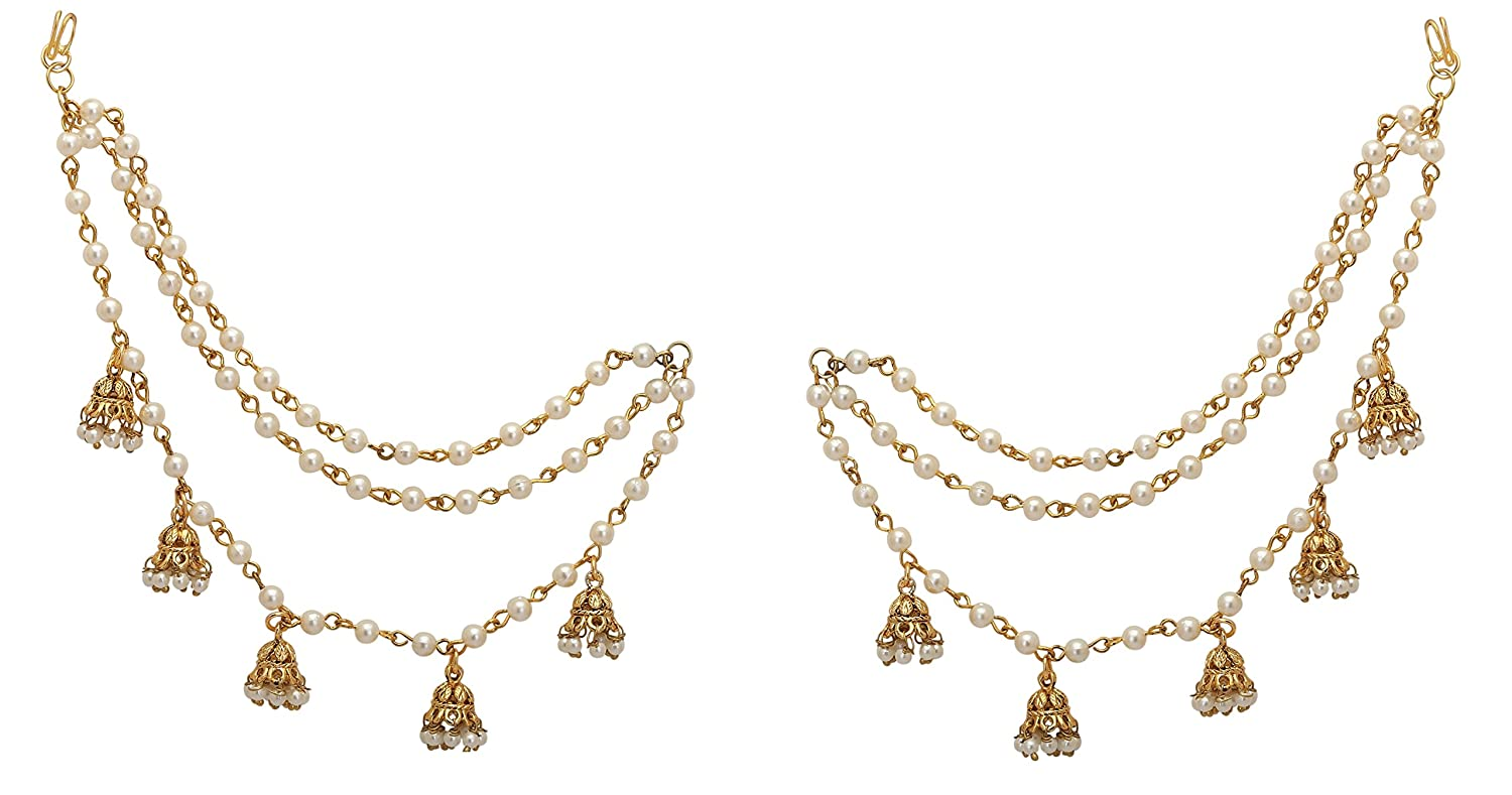 b12bc85124854 Jwellmart Indian Bollywood Gold Plated Faux Pearl Ear Chains for Earring  support Traditional Jewelry