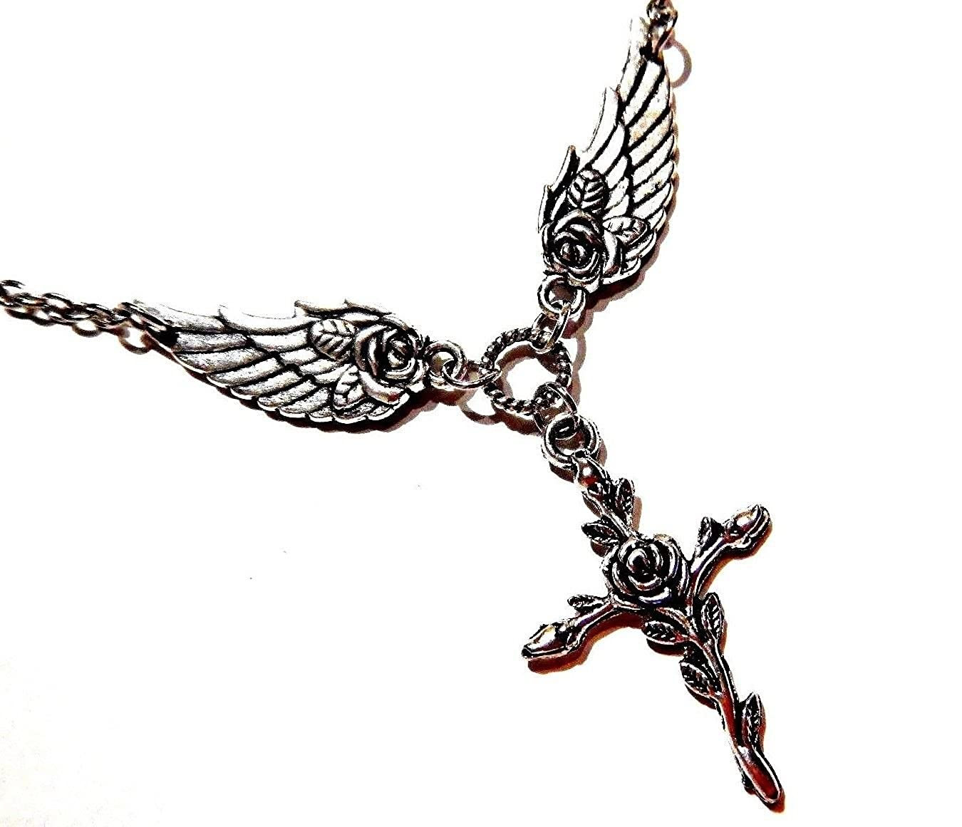 Amazoncom Silvertone Cross With Roses And Angel Wings Pendant Y
