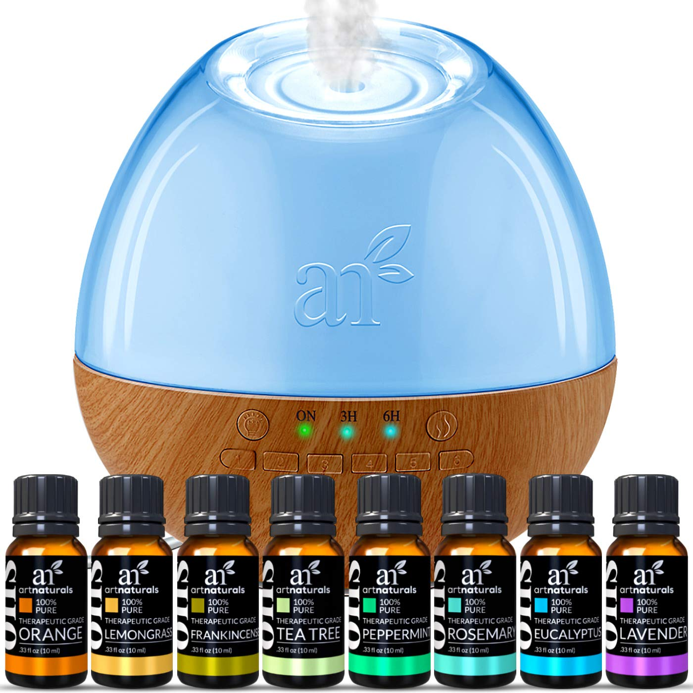 ArtNaturals Sound Machine Diffuser & Essential Oil Set - (300ml Tank & Top 8 Set) - 6 Calming Natural Sounds - Aromatherapy and White Noise for Relaxation and Sleeping - Baby, Kids, and Adults