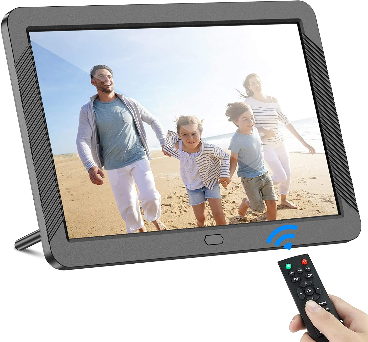 Digital Picture Frame 8 Inch 1920X1080P HD Digital Photo Frame with Remote Control 16:9 IPS Display Slideshow Zoom Image Stereo Video Background Music Support USB and SD Card