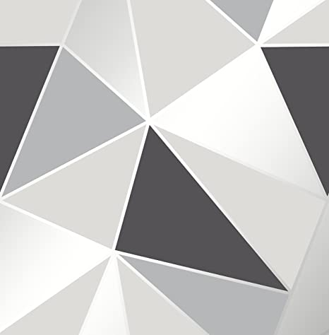 Apex Geometric Wallpaper Black And Silver Fine Decor Fd41994