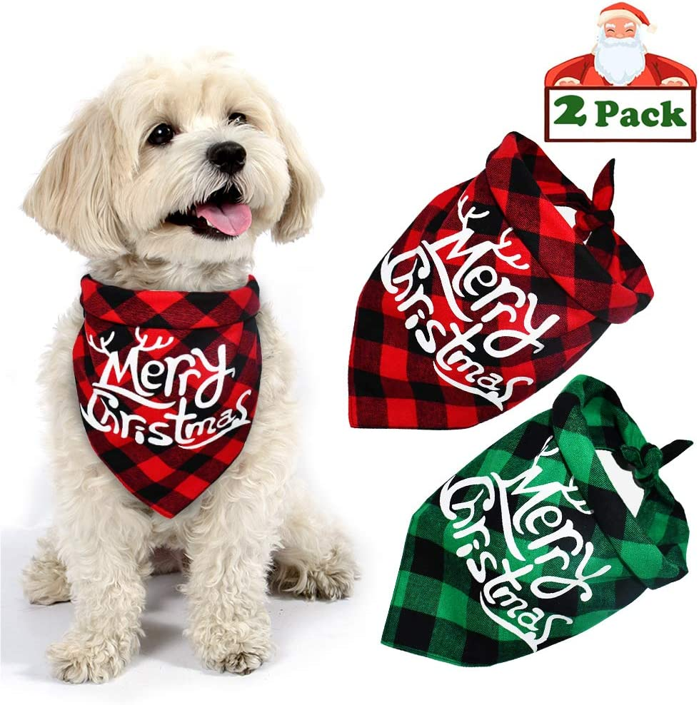 Yodofol Dog Christmas Bandana  Buffalo Plaid Pet Bandana Reversible Triangle Merry Christmas Bibs Accessories for Dogs Cats Pets
