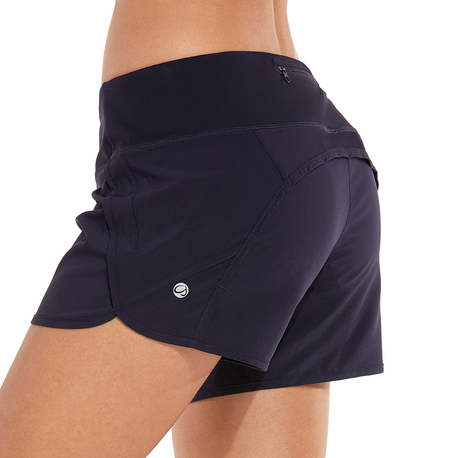 CRZ YOGA Women's Workout Sports Running Shorts Pants with Zip Pocket - 4 inch Navy 4''-R403 L(12)
