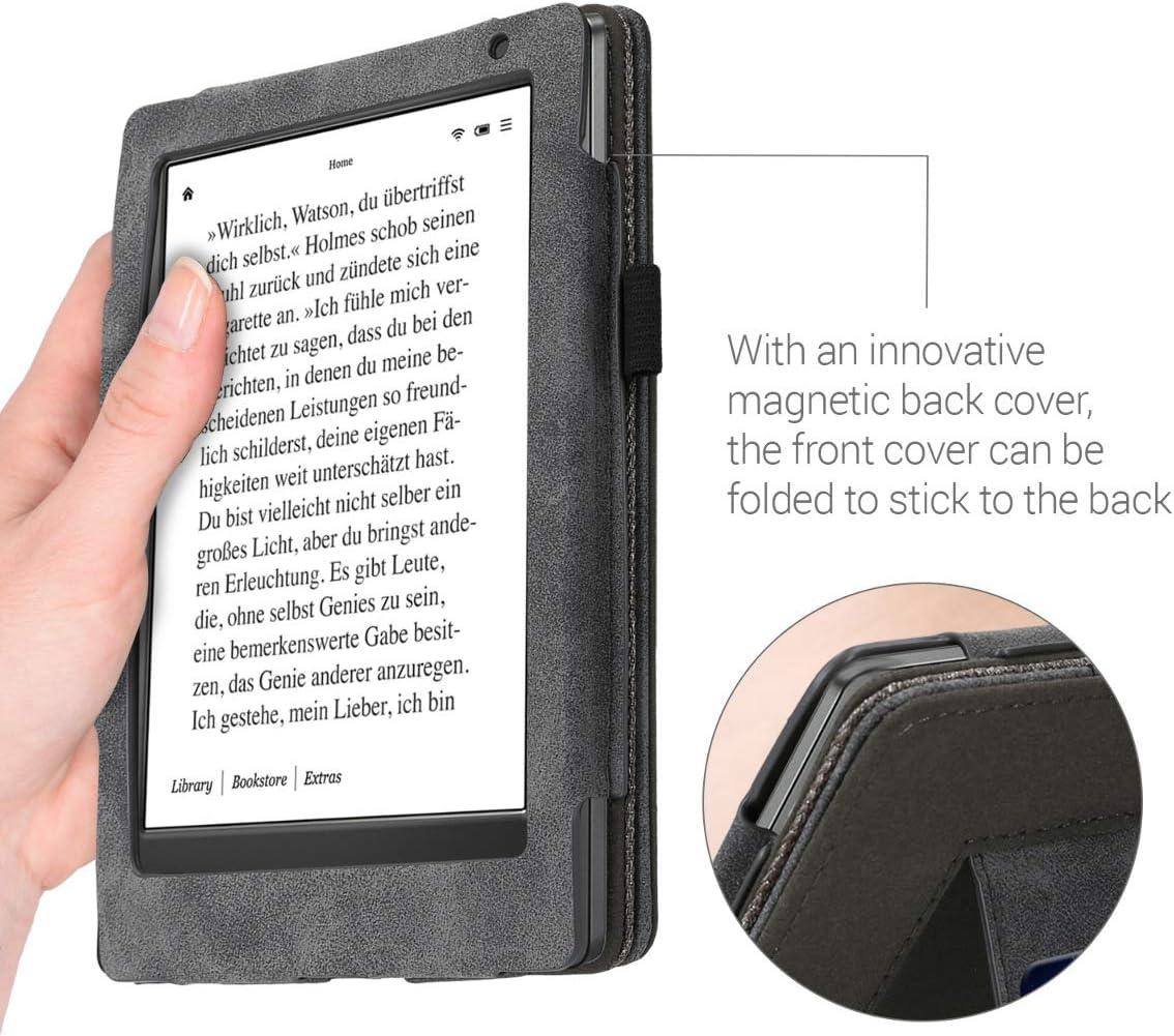 Housse Protection Gris-Noir kwmobile /Étui pour liseuse /électronique Compatible avec Kobo Aura H2O Edition 2