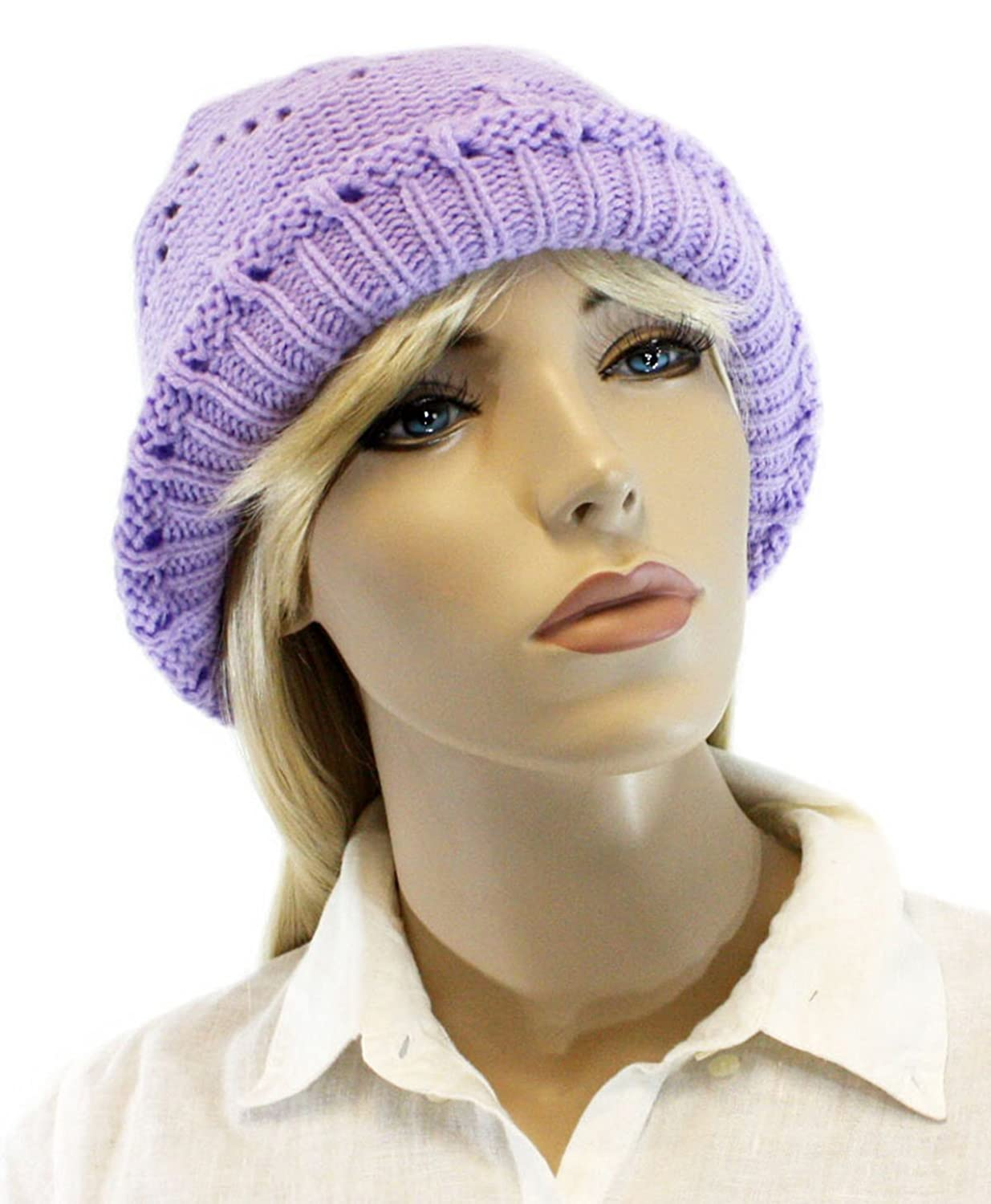 Women's Light Purple Cotton Knitted Beanie for Women