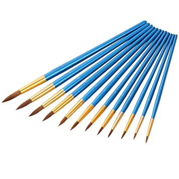 Blau 12 St/ück K/ünstlerpinsel feine Pinsel f/ür Acryl Aquarell /Ölmalerei