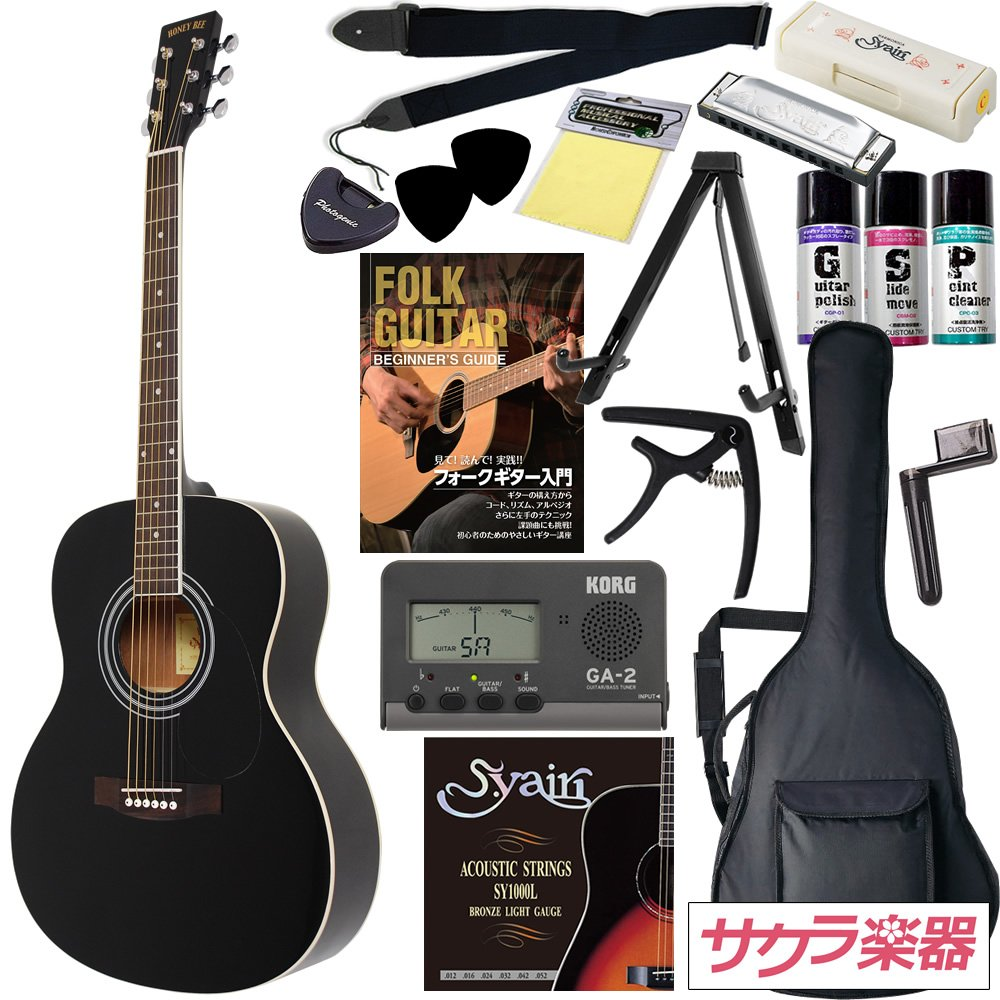 HONEY BEE アコースティックギター F-15 初心者入門16点セット /ブラック(9707021238) B002E98ZHK