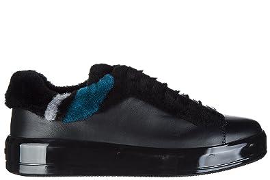 a40e91a4ee876 Prada Damenschuhe Turnschuhe Damen Leder Schuhe Sneakers Schwarz ...