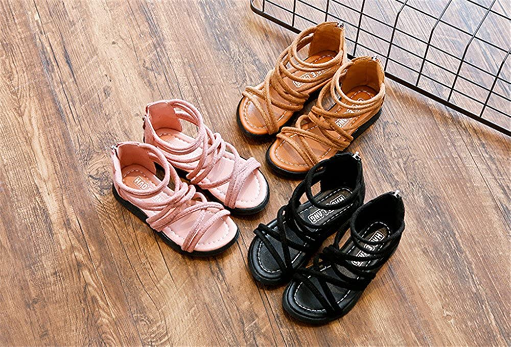 Meckior Toddler Kids Girls Classical Flat Sandals Rome Gladiator Shoes